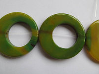 High Quality 50mm Full Strand Natural Agate Onyx Round Oval Loop Circles Donut Stone Green Yellow