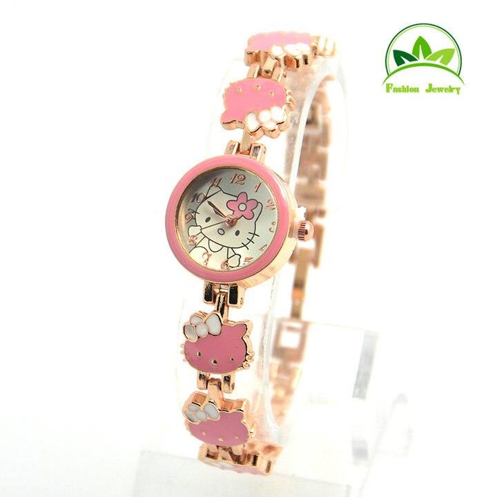 High Quality Rose Gold Hello Kitty Watch Children Girls Women Fashion Dress Quartz Wristwatches GO085
