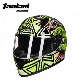 2018 Winter New Tanked Racing Double lens Motorcycle Helmet Full Face Motorbike Helmets with scarf made of ABS PC Lens visor