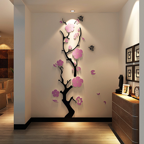 Plum flower 3d three-dimensional Crystal Acrylic wall stickers Room bedroom living room entrance background wall decorations 1
