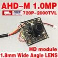 """1.8mm lente 2000tvl Mini módulo de chip adh-m 720 P 1/4 """"CMOS hd Terminou placa de circuito de Monitoramento incluem cabo 100 w lente Grande Angular"""