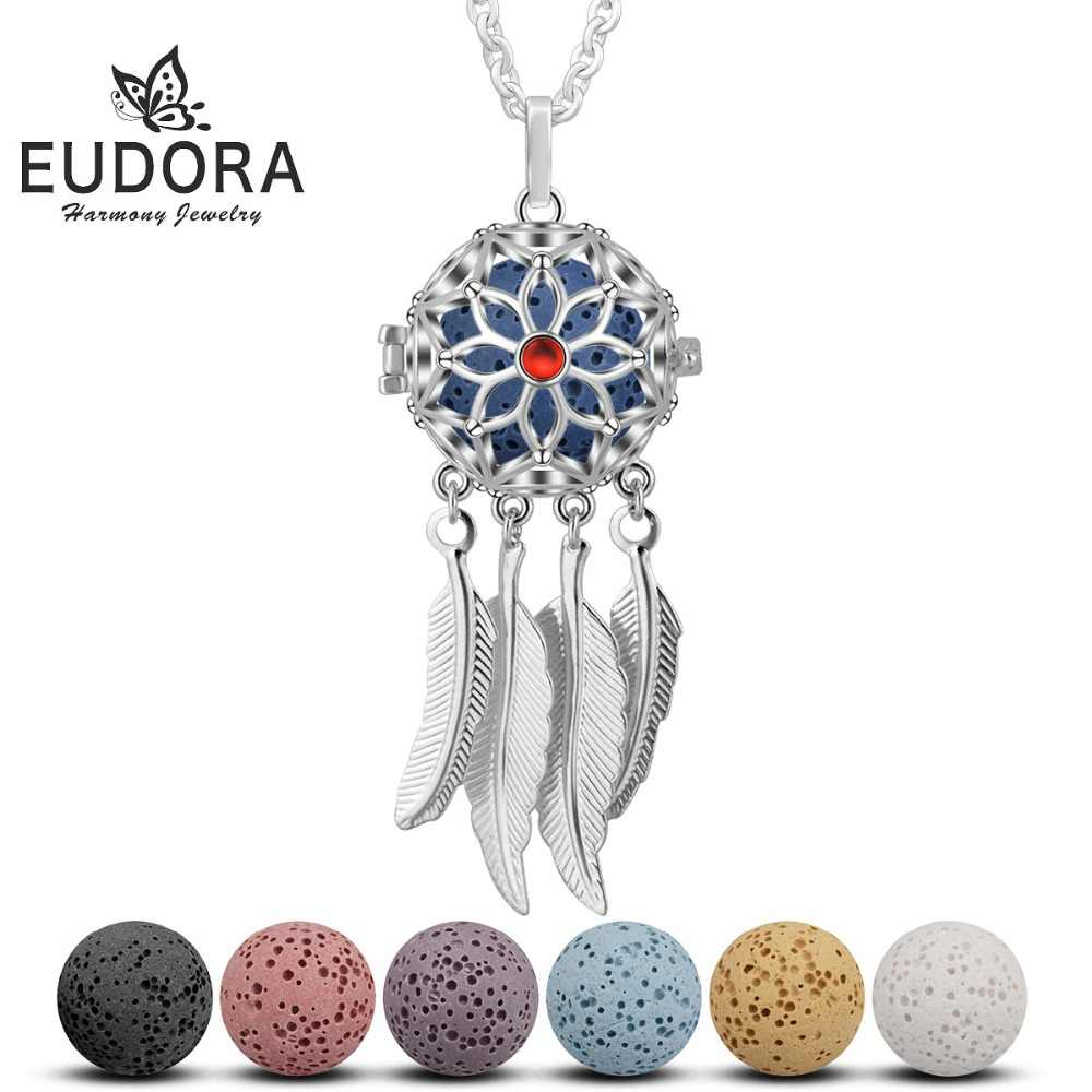 Eudora 18 mm Dream catcher Feather Tassel Lava Ball Pendant Perfume Aromatherapy Locket Diffuser Necklace For Women Jewelry K294