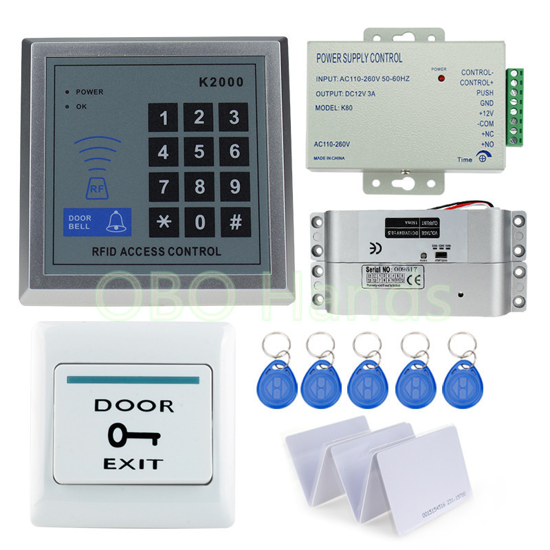Free Shipping Full Access Control Electric Lock System Kit Set with Electric Bolt Lock+Keypad+Power Supply+Door Exit+RFID Keys diy full keypad rfid door access control system electric bolt lock door system kit single glass door lock system