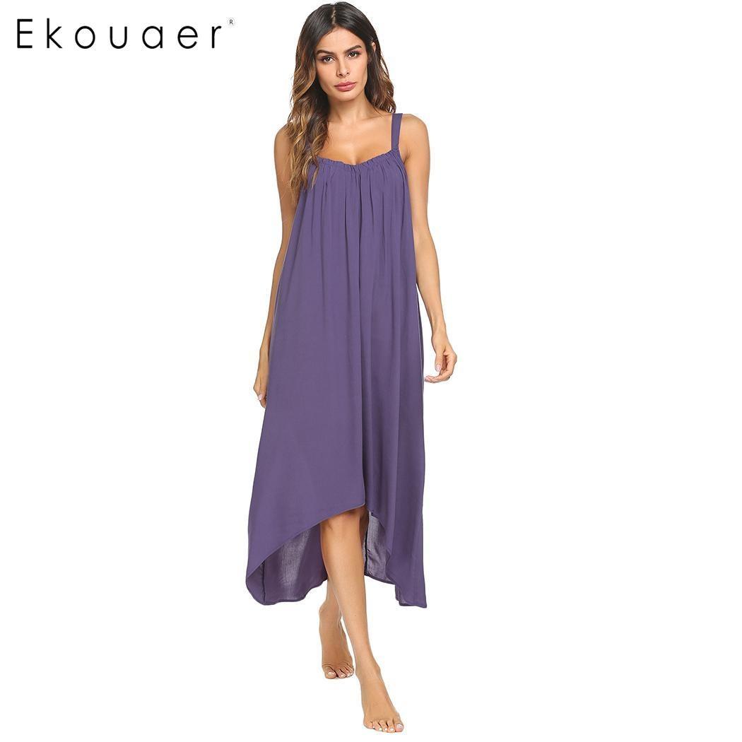 Ekouaer Women Spaghetti Strap   Nightgown   Long Chemise Nightdress Solid Irregular Hem Loose Night Dress Female Long   Sleepshirts