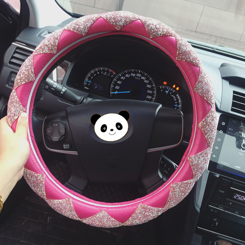 MUNIUREN Luxury Women Diamond Leather Car Steering Wheel Covers Bling Crystal Auto Interior