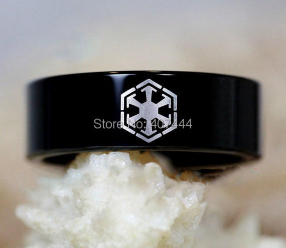 Free Shipping YGK JEWELRY Hot Sales 8MM Black Pipe Star Wars SITH Design Men's Bridal Tungsten Wedding Rings
