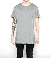 2017 Fashion Classic Plain Front Short Back Long Solid Plus Long Short Sleeve TEE Shirt Longline