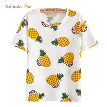 hot deal buy yolanda paz hot style pineapple print tees short sleeve tshirt women t shirt summer cotton t-shirt women tops tees causal tshirt