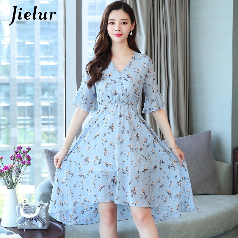 Jielur Chiffon Summer Dress Short Sleeve Floral Robe Femme V-neck Elastic Waist Vacation Women Dress Boho Leisure Abiti Donna image