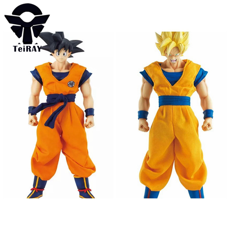 Dragon Ball Z Super Saiyan Son Goku Real Clothes Figma 18CM Japan Pvc Action Figures Anime Dragonball Banpresto Kids Hot Toys dragon ball z son goku vs broly super saiyan pvc action figures dragon ball z anime collectible model toy set dbz