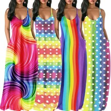 Women Sexy Spaghetti Strap Maxi Dress Holiday V Neck Print Casual Dress Loose Rainbow Striped Dress black leaf print v neck maxi dress