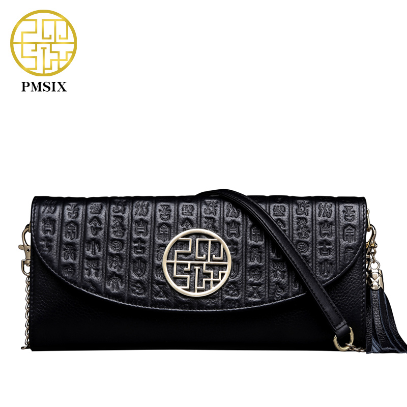 цены на Pmsix Embossed Top Layer Genuine Leather Handbag Fashion Chain Women Shoulder Bag Small  Crossbody Messenger Bags Ladies P510001 в интернет-магазинах