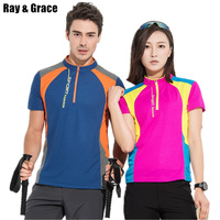Ray Grace Patchwork Design Quick Dry Breathable Hiking T Shirt Summer Outdoor Sportswear Men Women Climbing