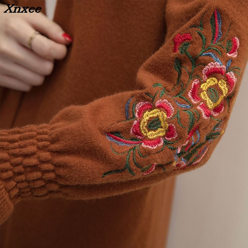 A long paragraph sweater coat 2018 new Korean embroidered bubble sleeve loose knit cardigan female split thickening Xnxee in Cardigans from Women 39 s Clothing