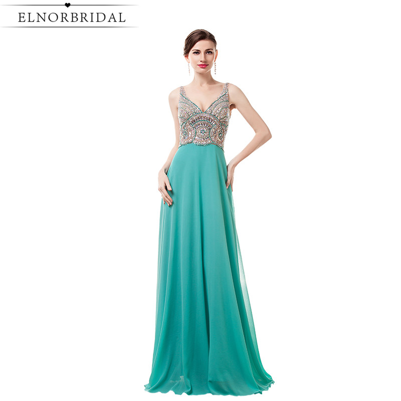 Turquoise Backless Prom Dresses Long 2017 Vestido De Formatura Beading Chiffon Modest Party Dress Formal Evening Gowns