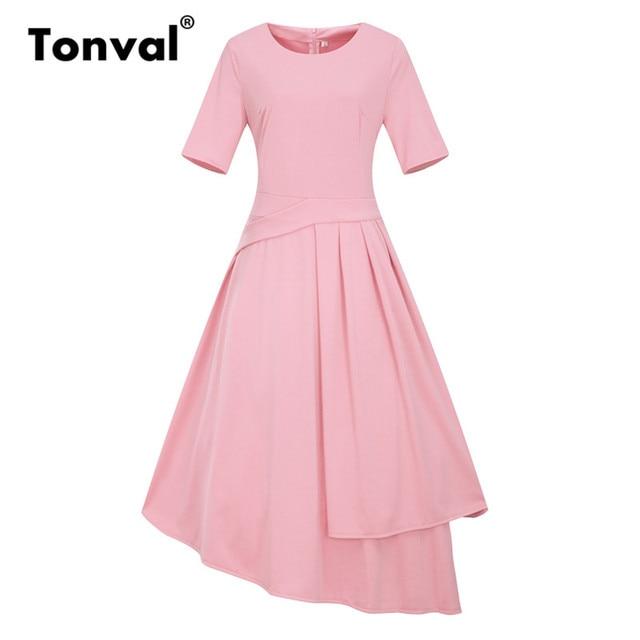 US $19.99 30% OFF|Tonval Vintage Pink A Line Office Dress 5XL 6XL Plus Size  Summer Dresses Women 2018 Peplum Elegant Asymmetrical Dress-in Dresses ...
