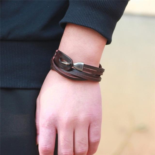 Janeyacy модные браслеты из натуральной кожи для мужчин pulseira