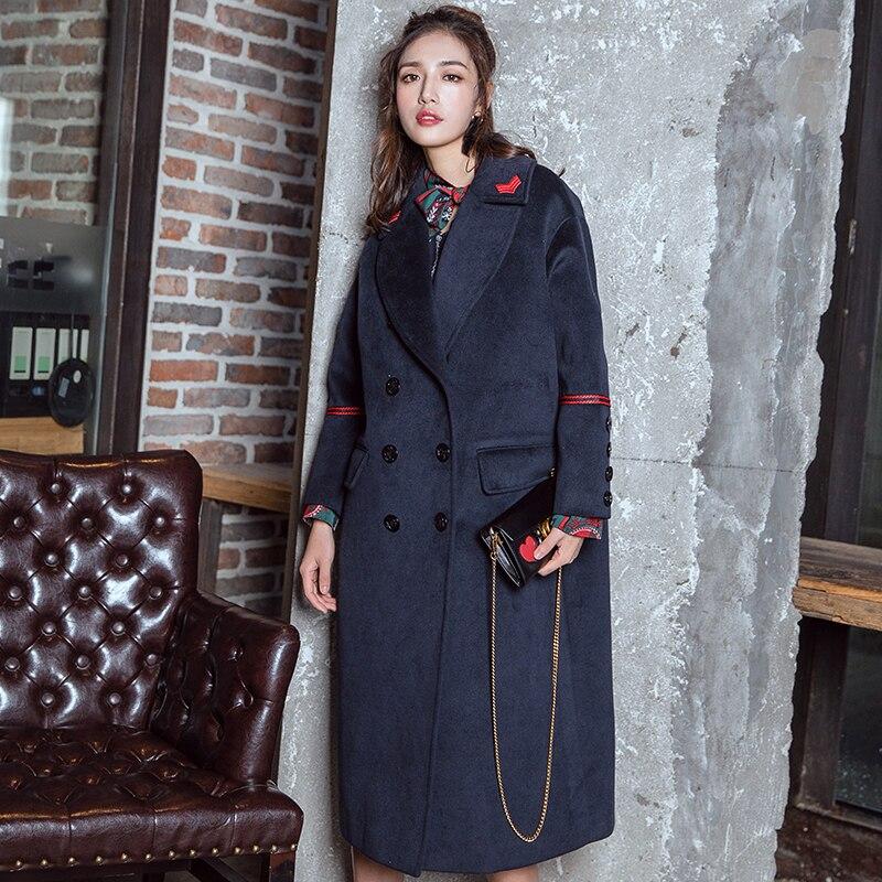 Стильное зимнее пальто средней длины в стиле милитари с эполетом выше колена, свободное двубортное шерстяное пальто, верхняя одежда с хлопк