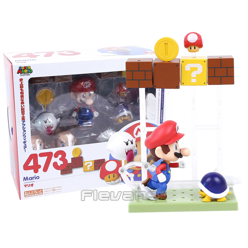 Super Mario Bros Mario with Toad Koopa Boo #473 Nendoroid PVC Action Figure Collectible Model Toy 6 piece 10 14cm super mario action figure evade glue fair young car furnishing articles model holiday gifts ornament box packed