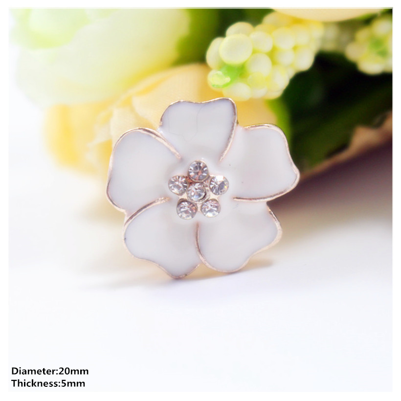 2pcs Flower Rhinestone Button Flatback Embellishment Craft for Bridal DIY