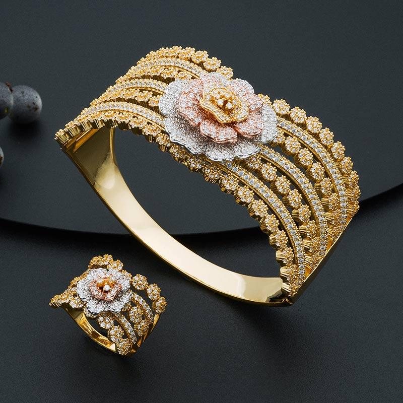 ModemAngel Mode Luxe Super Boom Bloemen Armband En Ring Set Voor Vrouwen Engagement Wedding Party Zirconia-in Sieradensets van Sieraden & accessoires op  Groep 2