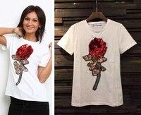 2016 New Brand Cotton 3D Design Rose Flower Tshirts Women Cotton Short Sleeve Tops Tees Womens