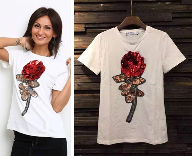 2016 New Brand Cotton 3D Design Rose Flower Tshirts Women Cotton Short Sleeve Tops Tees Womens Plus Size T Shirt
