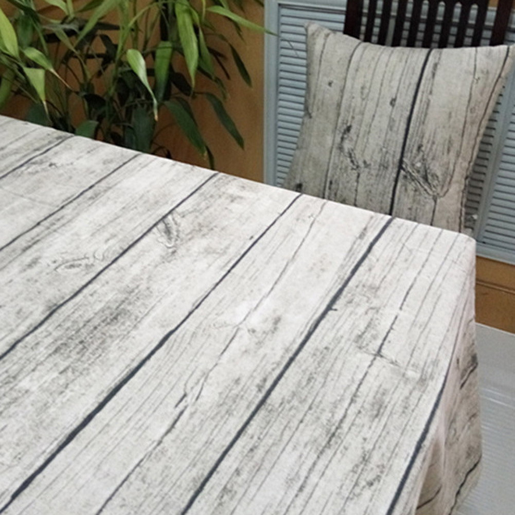 Vintage europeo Stlye Popular mantel de mesa de lino Rectangular mantel de madera a prueba de polvo Bar restaurante cubierta de mesa