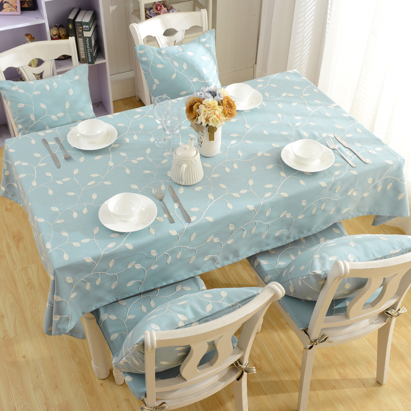 69e86c2e622 Image Cotton Table Cloth Leaf Green Style Embroidered Tablecloth European  Garden Rectangular Table Cloth Desk Cover