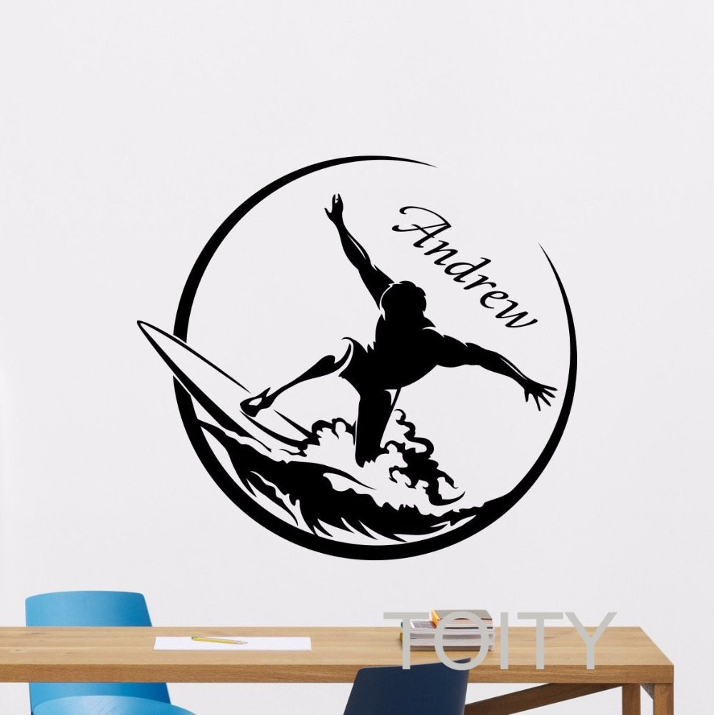 Custom name surfing wall decal personalized vinyl sticker for Custom wall mural decals