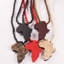 Wooden Fashion Necklace Africa Map Pendant
