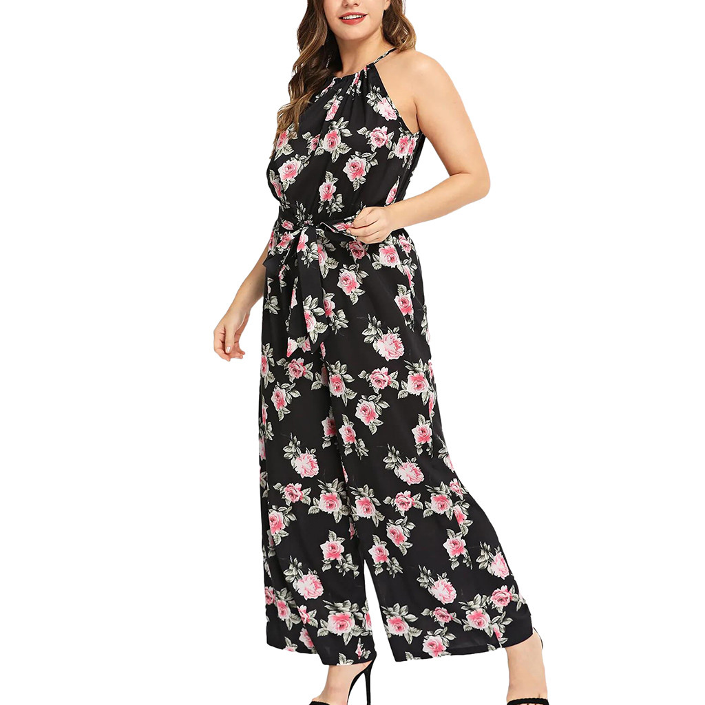 Women Clothing 2019 O-Neck Rompers Plus Size Printed Sleeveless Long   Jumpsuits   Rompers Drop Shipping#NEW
