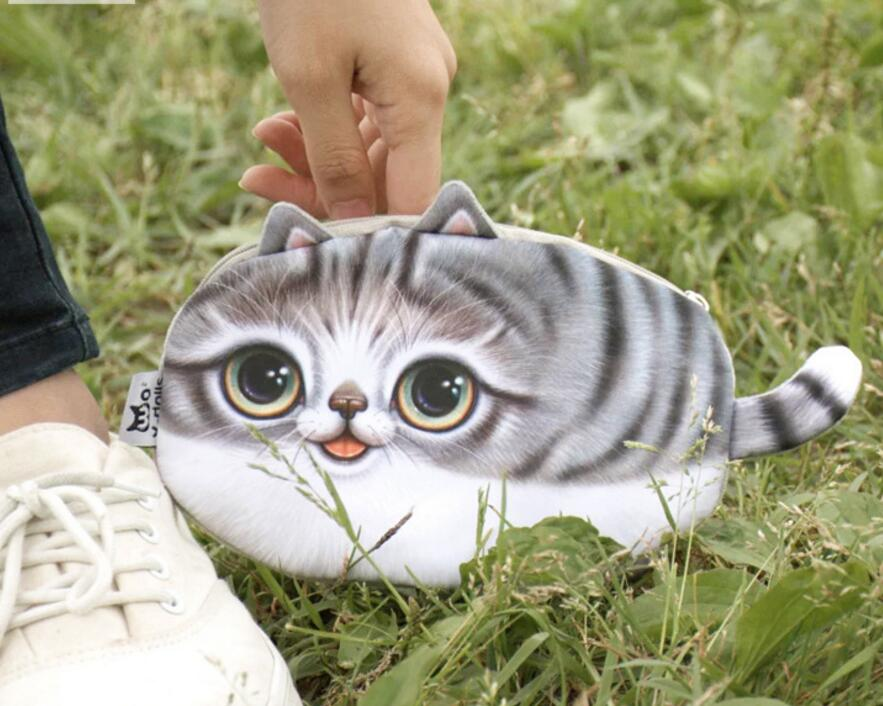 M212 Cute Cartoon Pets Kitty Cat Personality Plush Coin Purse Wallet Pen Bag Girl Women Student Gift Wholesale