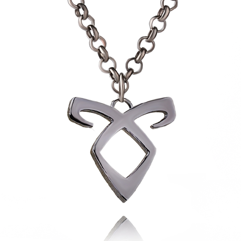 Retro City of Bones Necklace Angelic Forces Power Rune Pendant Inspired By The Mortal Instruments Shadowhunters Collar For Men