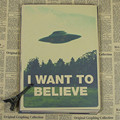 Vintage Classic Movie The X-Files I Want To Believe Poster Bar Home Decor Retro Kraft Paper Painting 42x30cm Wall Sticker
