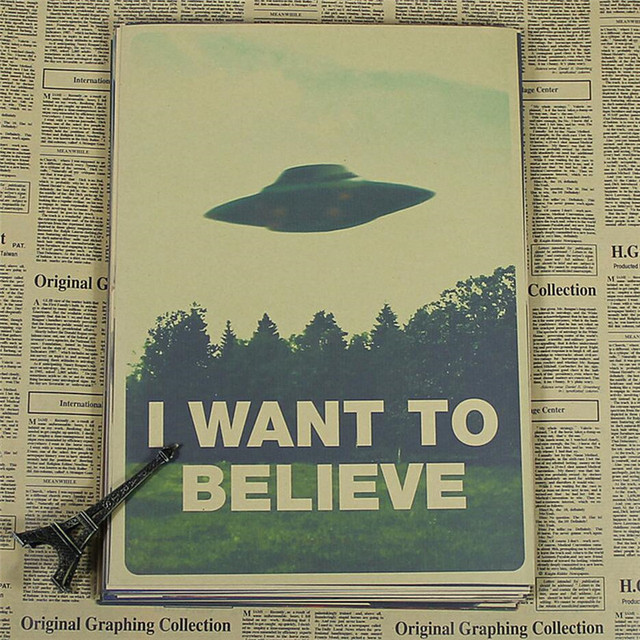 Vintage Classic Movie The x-files I Want To Believe Poster Bar decoración del hogar Retro Kraft papel pintura 42X30 cm pegatina de pared