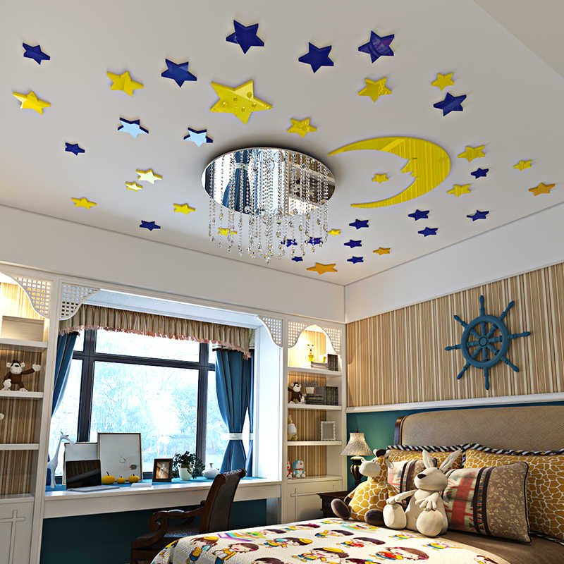 Star Sky 3d Wall Sticker Creative Ceiling Decoration Wallpapers Boys Children S Roof Bedroom Cartoon Moon Stickers For Kids Room Aliexpress