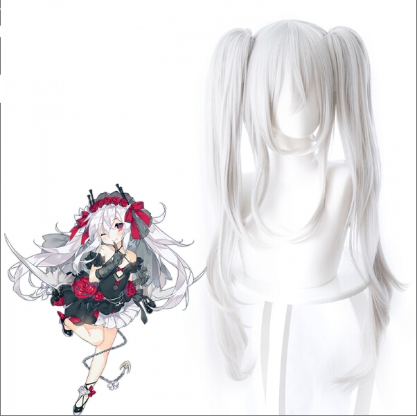 Azur Lane Cosplay Vampire Wig 80 cm Long Heat Resistant Synthetic Silver White Hair Halloween Cosplay Props