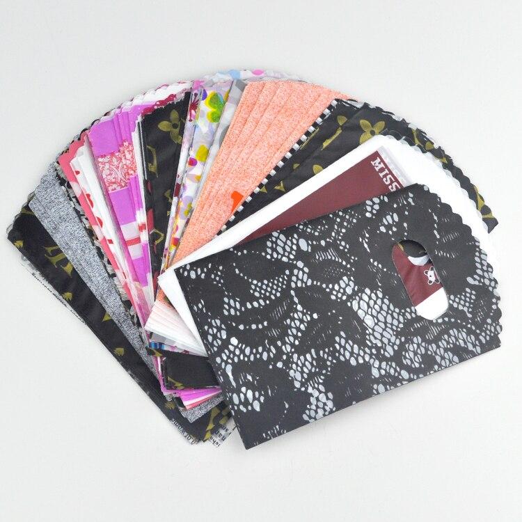 Mini 100 pces cor misturada aleatória 9*15cm bonito plástico jóias presente embalagem sacos de portador com alça para boutique compras