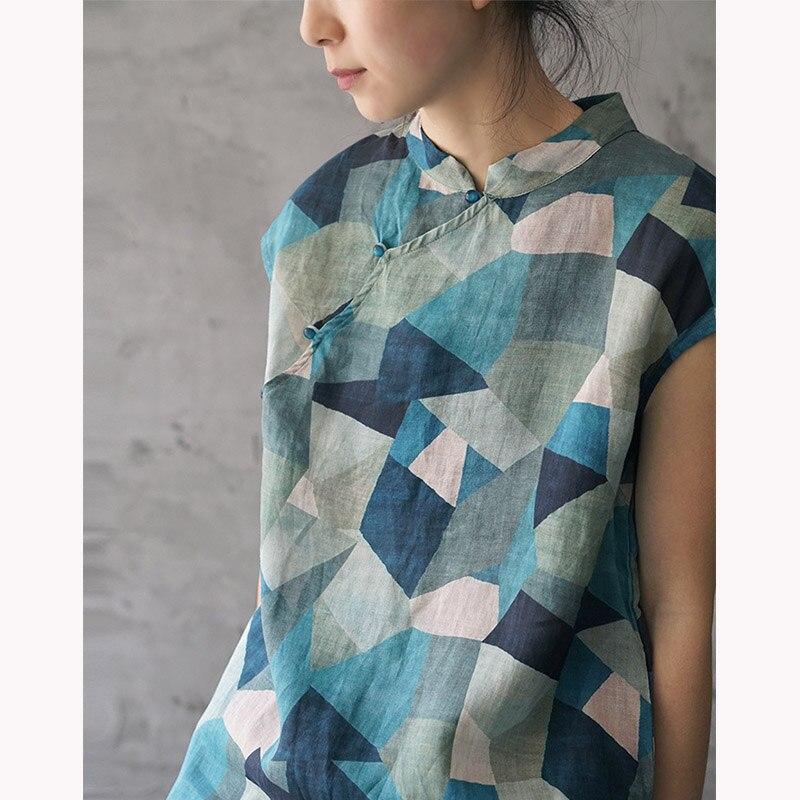 SCUWLINEN 2019 Women Summer Dress Vintage Geometric Print Stand Collar Sleeveless Ramie Dress Chinese Improved Cheongsam
