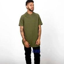 2017 Mens Hipster Hip Hop Lightweight Longline T-shirt Men Side Zipper Short Sleeve T-shirt Army Green Snapback Tops Tees
