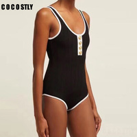 women clothes jumpsuit women bodysuit Sexy V neck Sleeveless Strap Designing Skinny Knitting Vest romper Buttons body femme