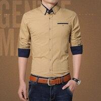 2017 New Brand Camisas Para Hombre Shirts Men Long Sleeve Fashion Slim Fit Cotton Autumn Plus