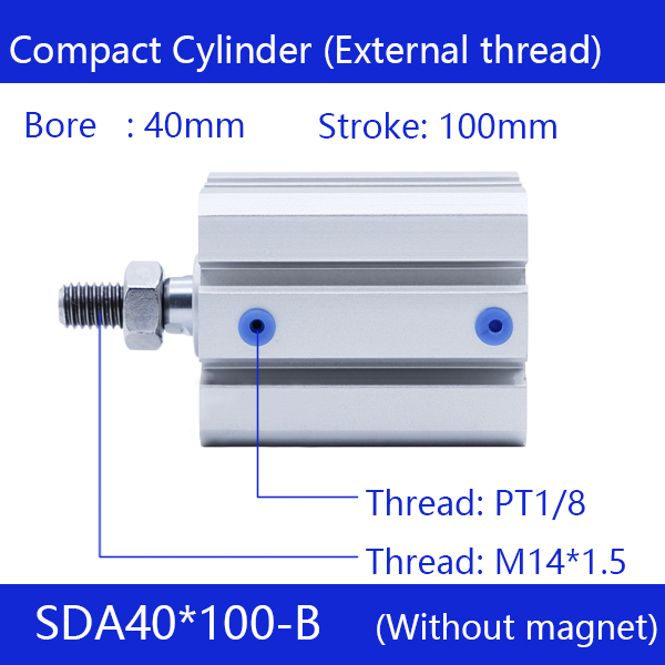 SDA40*100-B Free shipping 40mm Bore 100mm Stroke External thread Compact Air Cylinders Dual Action Air Pneumatic Cylinder