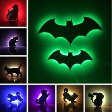 Amroe New 2018 Hot Sale RGB Night Light 7 Color Change Sensor Running Dog Doggy Cat Whale Bat Kid Sleep Path Gift
