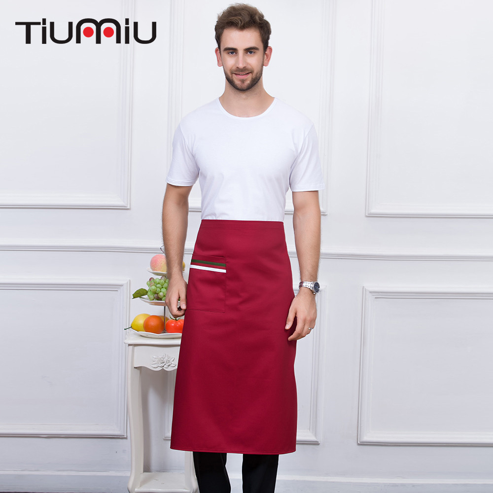 5 Colors New Arrival High Quality Wholesale Apron With Pockets Kitchen Hotel Coffee Shop Bakery Chef Waiter Cleaning Work Aprons
