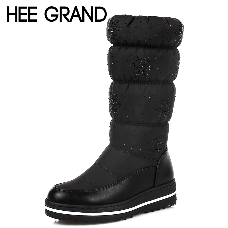 HEE GRAND Knee High Boots Cotton Fabric Slip On Winter Warm Women Boots Inner Height Increasing Platform Shoes Woman XWX6420 hee grand inner increased winter ankle boots warm fringe fashion platform women snow boots shoes woman creepers 3 colors xwx6180