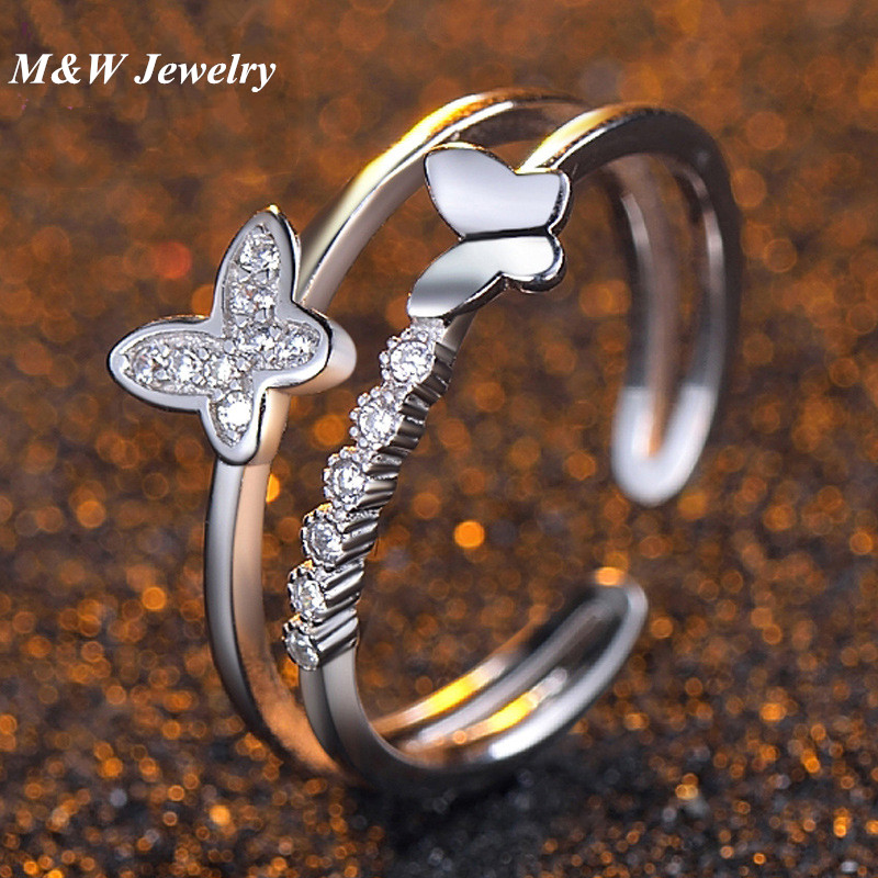 M&W JEWELRY Hot Sale 925 Sterling Silver Dazzling CZ Butterfly Open Finger Ring for Women Fashion Sterling Silver Jewelry Gift