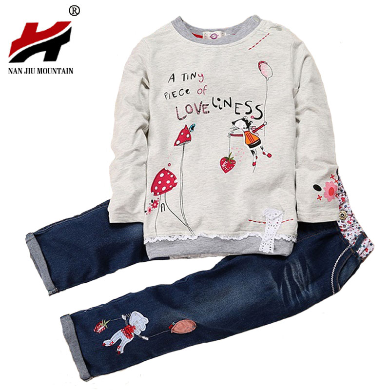 New Fashion Children Spring & Autumn Clothing Sets For Girls Cartoon Long-sleeved Sweater + Jeans Suit Sets Kids Costume