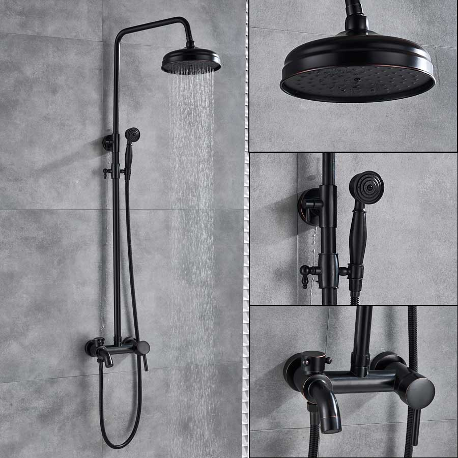 Bronze Black Bathroom Shower Faucet Mixer Wall Mount 8 Rainfall Shower Set Mixer Tap Brass Tub Spout Bath Shower Mixers